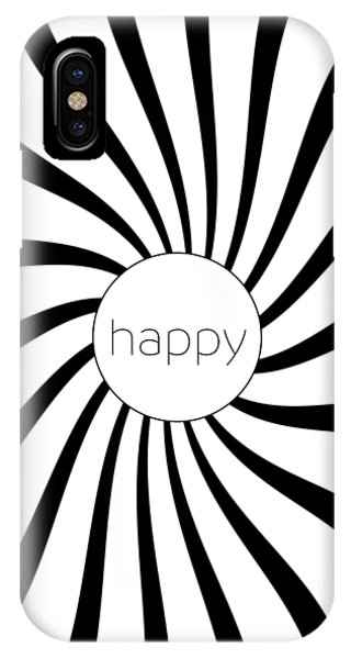 Happy - Black And White Swirl IPhone Case