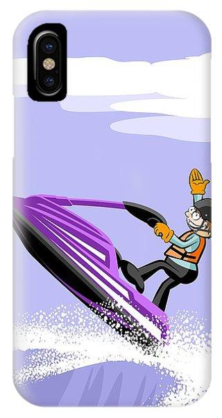 Jet Ski iPhone Case - Happy Boy Sailing Among The Waves On A Violet Jet Ski by Daniel Ghioldi