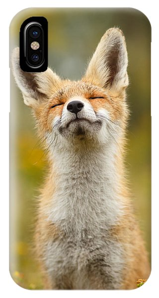 Red iPhone X Case - Happy Fox by Roeselien Raimond