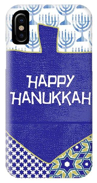 Holiday iPhone Case - Happy Hanukkah Dreidel 1- Art By Linda Woods by Linda Woods