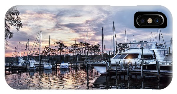 Happy Hour Sunset At Bluewater Bay Marina, Florida IPhone Case