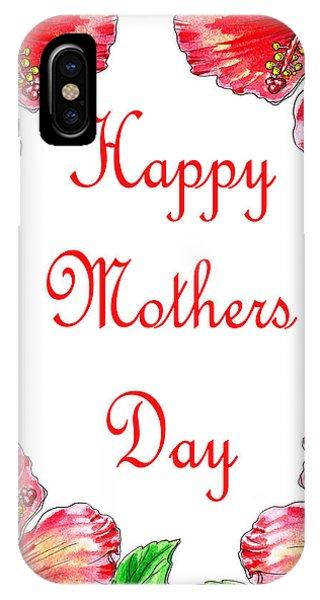 Hibiscus Flower iPhone Case - Happy Mothers Day Hibiscus by Irina Sztukowski