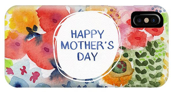 Day iPhone Case - Happy Mothers Day Watercolor Garden- Art By Linda Woods by Linda Woods