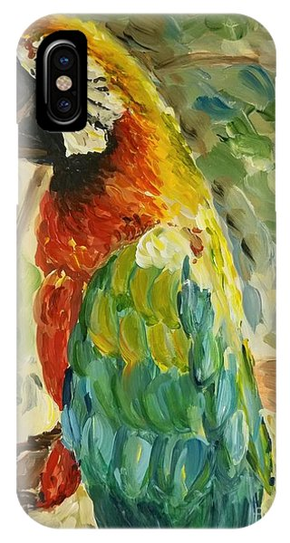 IPhone Case featuring the painting Happy Parrot by Maria Langgle