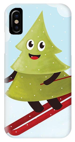 Happy Pine Tree On Ski IPhone Case