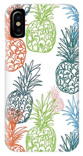 Summer Fruit iPhone Case - Happy Pineapple- Art By Linda Woods by Linda Woods