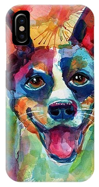 iPhone Case - Happy Rat Terrier Watercolor Portrait by Svetlana Novikova