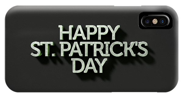 St. Patricks Day iPhone Case - happy st patricks day Text On Black by Allan Swart