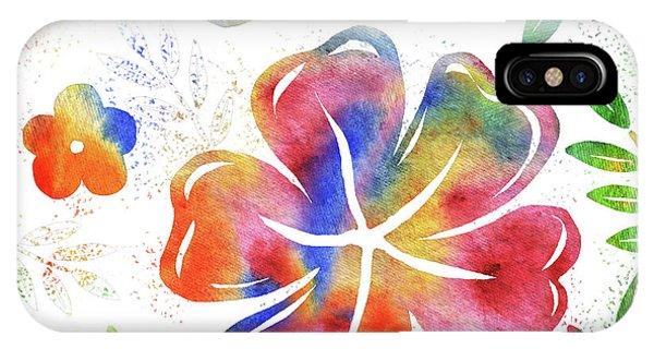 Hibiscus Flower iPhone Case - Happy Watercolor Flowers by Irina Sztukowski