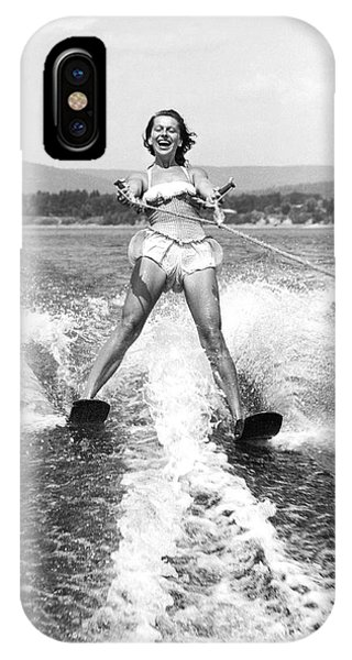 Water Ski iPhone Case - Happy Woman Water Skier by Underwood Archives