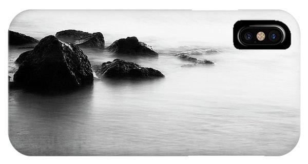 Harbor Rocks And Misty Ocean I Phone Case by Charmian Vistaunet