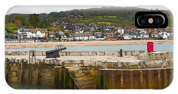Dorset iPhone Case - Harbour Wall Lyme Regis Dorset With Canon England Jurassic Coast Artistic Illustration Cartoon  by Michael Charles