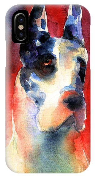 Harlequin Great Dane Watercolor Painting IPhone Case