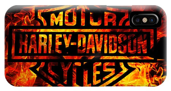 Harley iPhone Case - Harley Davidson Logo Flames by Randy Steele