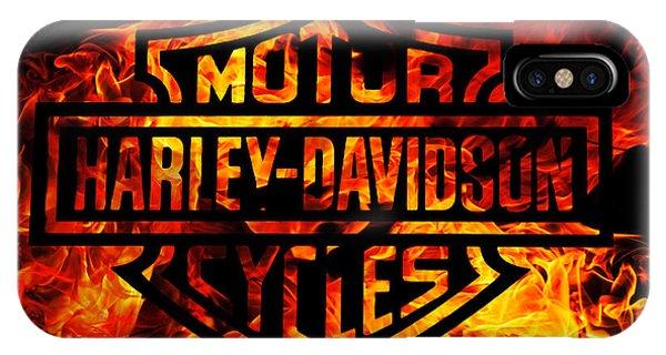 Fire iPhone Case - Harley Davidson Logo Flames by Randy Steele
