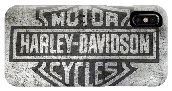 Texture iPhone Case - Harley Davidson Logo On Metal by Randy Steele