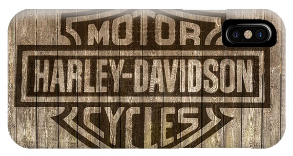 Harley Davidson Logo On Wood IPhone Case