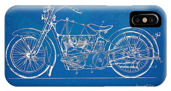 Harley iPhone Case - Harley-davidson Motorcycle 1928 Patent Artwork by Nikki Marie Smith