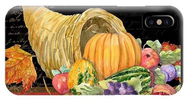 Harvest Cornucopia Of Blessings - Pumpkin Pomegranate Grapes Apples IPhone Case