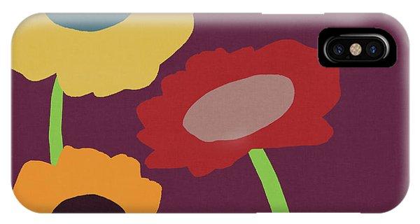 Floral iPhone Case -  Harvest Flowers Purple- Art By Linda Woods by Linda Woods