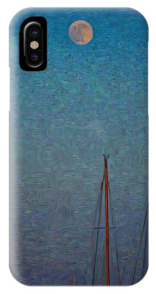 Harvest Full Moon With Boat Masts IPhone Case