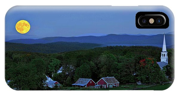 Harvest Moon Over Peacham Vermont IPhone Case