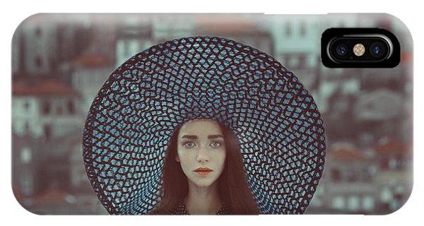 Blue iPhone Case - Hat And Houses by Anka Zhuravleva