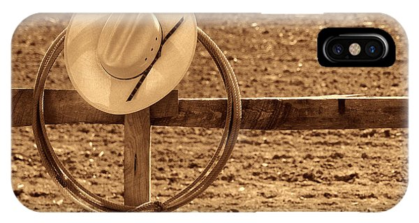 Hat And Lasso On A Fence IPhone Case