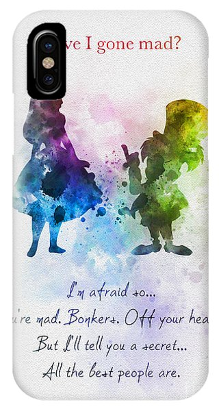 Alice In Wonderland iPhone Case - Have I Gone Mad? by Rebecca Jenkins
