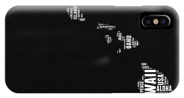 Oahu Hawaii iPhone Case - Hawaii Black And White Map by Naxart Studio