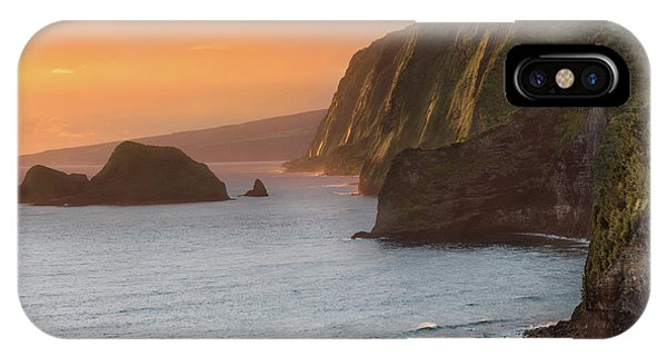 Orange Sunset iPhone Case - Hawaii Sunrise At The Pololu Valley Lookout 2 by Larry Marshall
