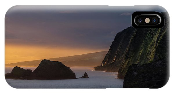 Helicopter iPhone X Case - Hawaii Sunrise At The Pololu Valley Lookout by Larry Marshall