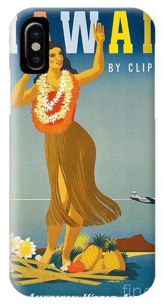 Hawaii iPhone Case - Hawaii Vintage Travel Poster Restored by Vintage Treasure