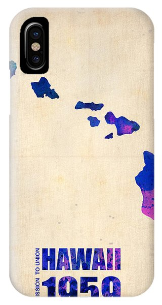 Hawaii iPhone Case - Hawaii Watercolor Map by Naxart Studio