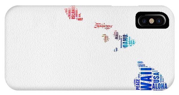 Typography iPhone Case - Hawaii Watercolor Word Cloud  by Naxart Studio