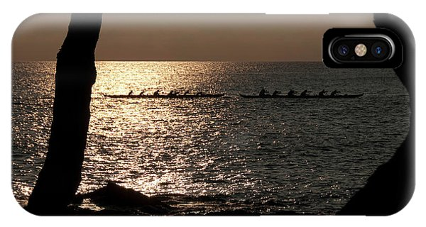 Hawaiian Dugout Canoe Race At Sunset IPhone Case