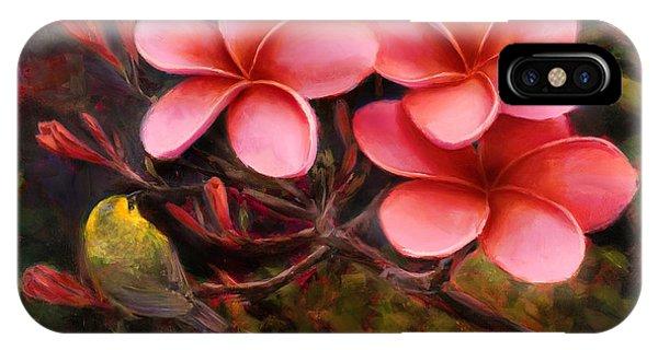 Hawaiian Pink Plumeria And Amakihi Bird IPhone Case