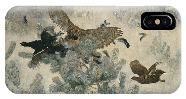Swedish Painters iPhone Case - Hawk And Black-game by Bruno Liljefors