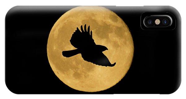 Hawk Flying By Full Moon IPhone Case