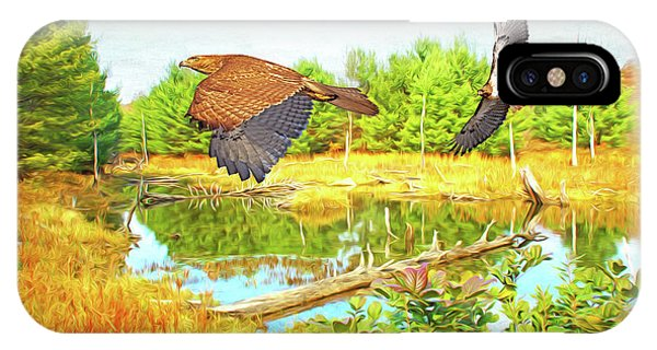 Red Tail Hawk iPhone Case - Hawks On The Prowl by Laura D Young