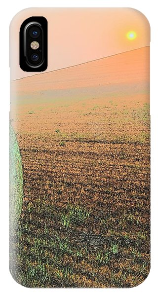 IPhone Case featuring the photograph Hay Bale Sunset 7429 by Jerry Sodorff