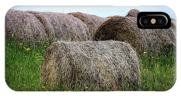 Hay Bales Among The Wildflowrs IPhone Case