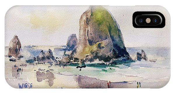 Wiese iPhone Case - Haystack Rock, Canon Beach, Or by Marilynn Wiese
