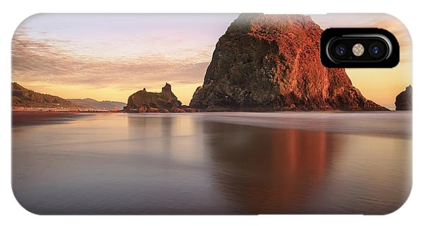 IPhone Case featuring the photograph Haystack Rock Sunset by Adam Romanowicz