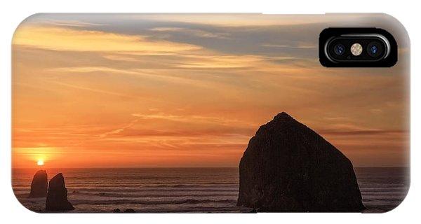 Haystack Rock Sunset, Cannon Beach, Oregon IPhone Case