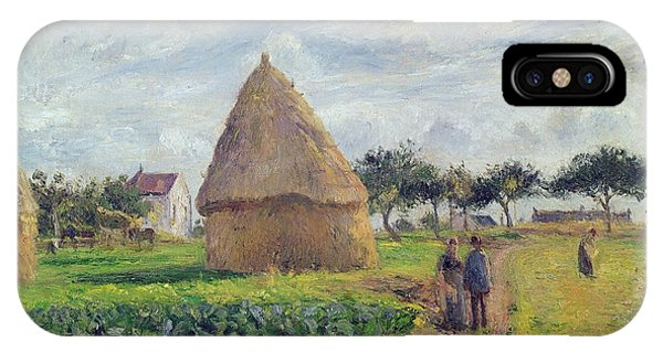 Plowing iPhone Case - Haystacks by Camille Pissarro