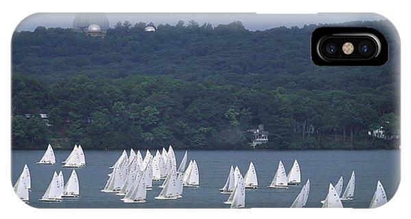 Hazy Day Regatta - Lake Geneva Wisconsin IPhone Case
