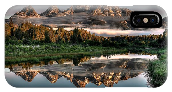 Mountains iPhone Case - Hazy Reflections At Scwabacher Landing by Ryan Smith