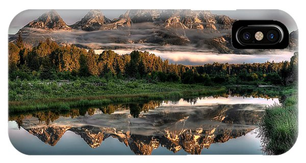 Teton iPhone Case - Hazy Reflections At Scwabacher Landing by Ryan Smith
