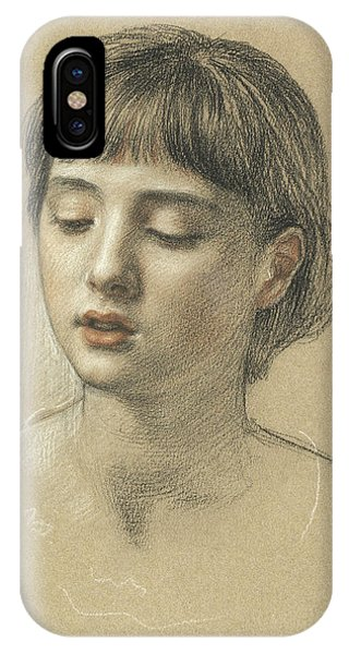 Pastel Pencil iPhone Case - Head Of A Girl, 1883 by Edward John Poynter